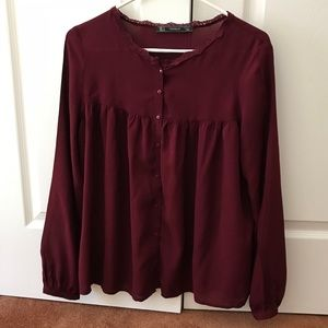 Red Zara blouse size S